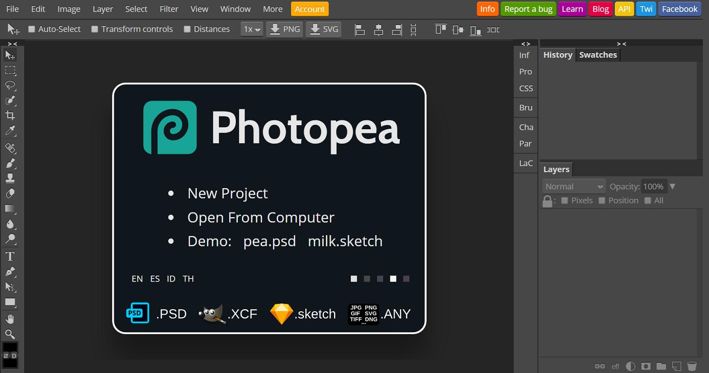 ฟรี Photoshop Online Photopea แก้ไขแต่งรูป Online เหมือน Photoshop เป๊ะ