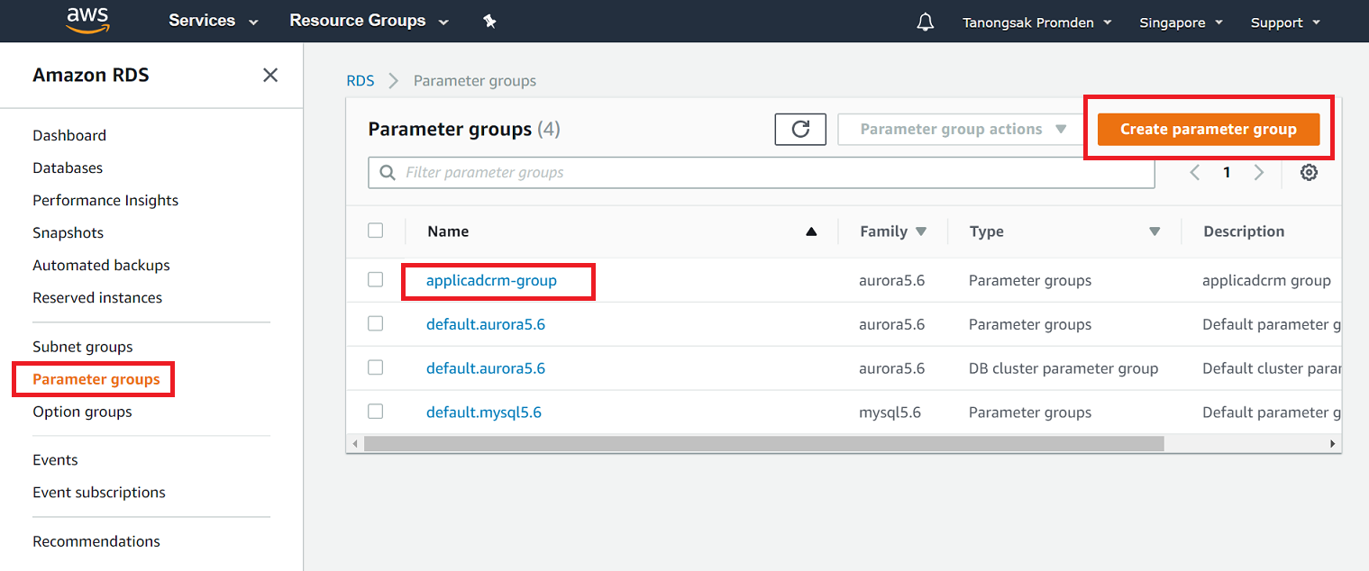 Create functions, procedures, และ triggers ใน Amazon RDS MySQL