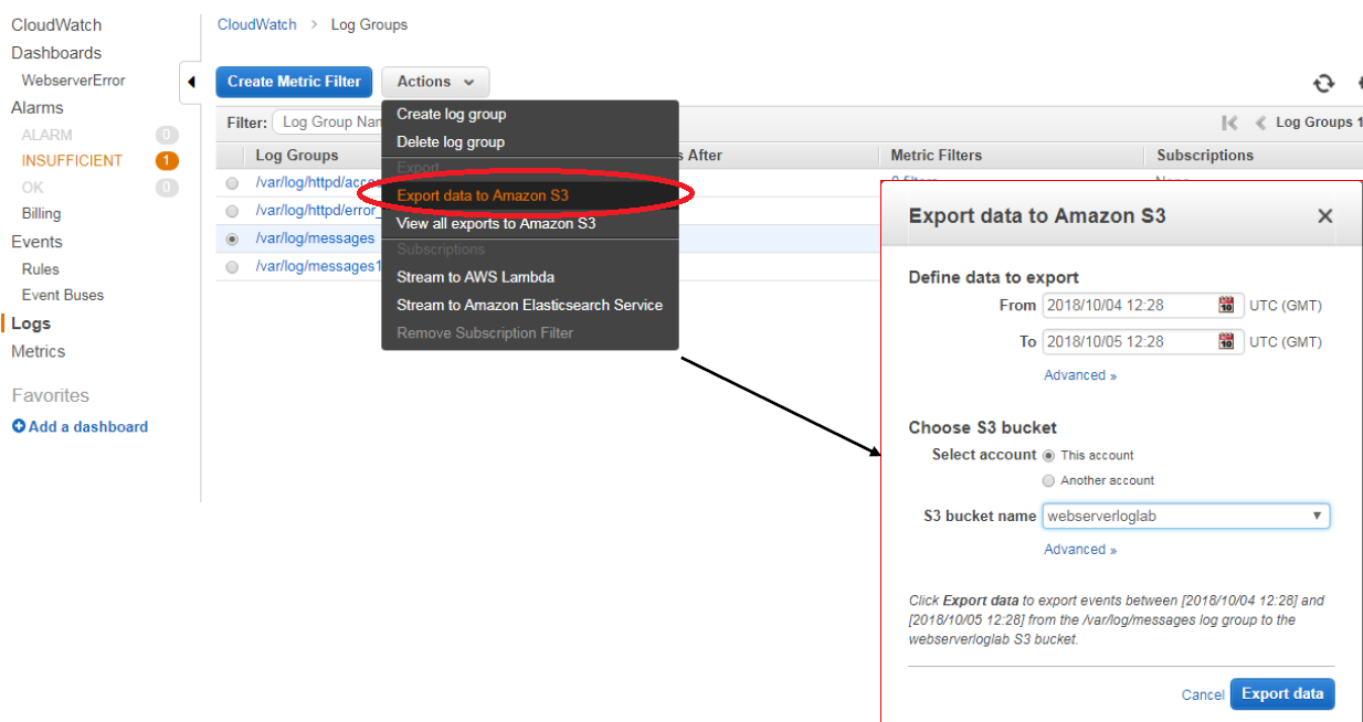 AWS Export Log Data From CloudWatch Log to S3