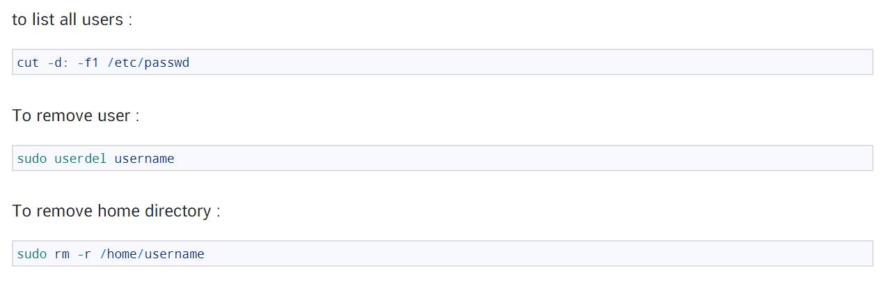 Delete a user & home folder in linux