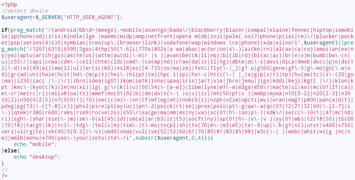 PHP ตรวจสอบการเข้าใช้งานผ่านมือถือ Detect a mobile device
