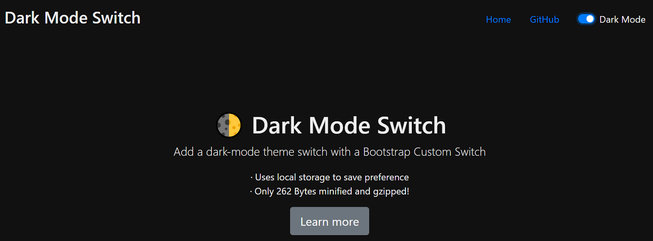Bootstrap 4 Dark Mode Switch