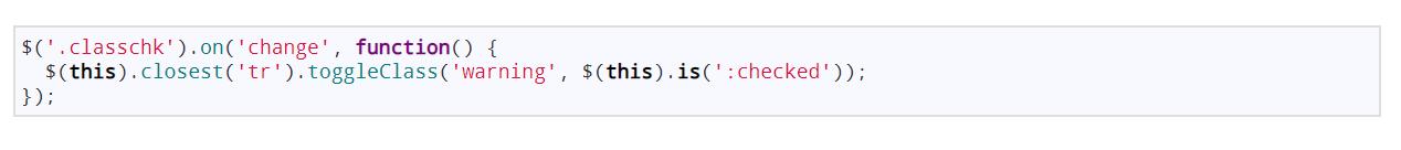 Javascript เปลี่ยนสี bg tr หาก input checkbox มีการ checked